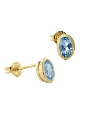 Ohrringe Gold 333 / 8K Ohrstecker Topas Swiss Blau Acalee Goldfarben