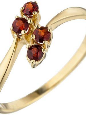 SIGO Damen Ring 375 Gold Gelbgold 4 Granate rot Goldring Granatring