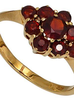 SIGO Damen Ring 375 Gold Gelbgold 9 Granate rot Goldring