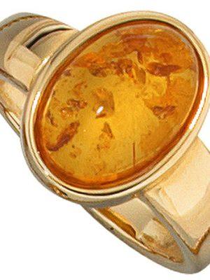 SIGO Damen Ring 585 Gold Gelbgold 1 Bernstein orange Bernsteinring Goldring