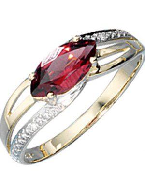 SIGO Damen Ring 585 Gold Gelbgold bicolor 1 Granat rot 2 Diamanten Brillanten