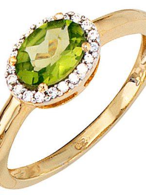 SIGO Damen Ring 585 Gold Gelbgold bicolor 1 Peridot grün 20 Diamanten Goldring