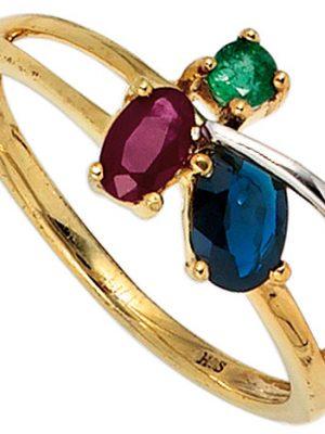 SIGO Damen Ring 585 Gold Gelbgold bicolor 1 Rubin 1 Safir 1 Smaragd Goldring