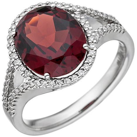 SIGO Damen Ring 585 Gold Weißgold 1 Granat rot 66 Diamanten Brillanten Granatring