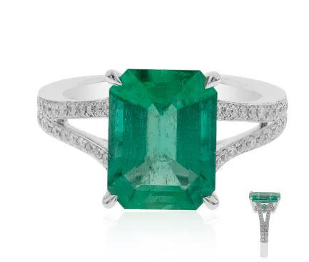Weißgold Ring mit Smaragd