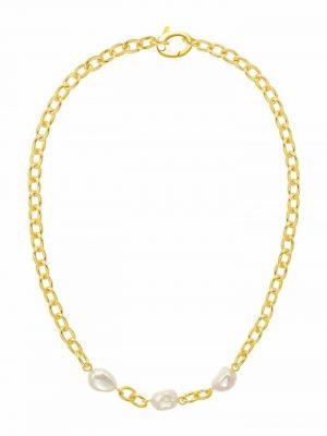 Collier für Damen, 925 Sterling Silber vergoldet, Perle JOOP! Gold