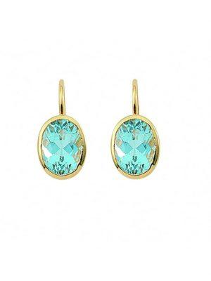 Damen Goldschmuck 585 Gold Boutons mit Aquamarin 1001 Diamonds blau