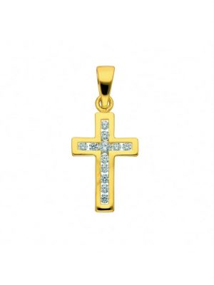 Damen & Herren Goldschmuck 585 Gold Kreuz Anhänger mit Zirkonia 1001 Diamonds gold