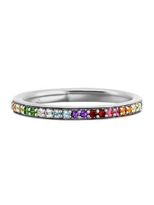 Ring 925/- Sterling Silber Granat bunt Glänzend 0,010ct/pc. CAI weiß