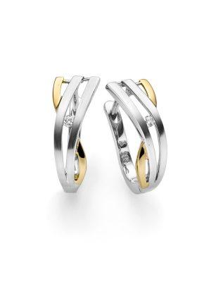 ELLA Juwelen Creolen - V11-O 585 Gold, Zirkonia bicolor