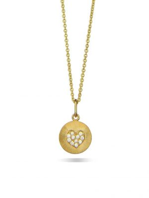 Jeberg Halskette - Mini Heart- 4710 925 Silber vergoldet, Zirkonia gold