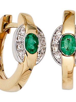 SIGO Creolen 585 Gold Gelbgold bicolor 16 Diamanten 2 Smaragde grün Ohrringe