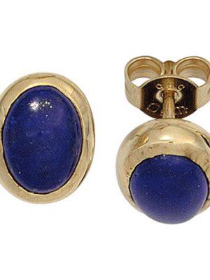 SIGO Ohrstecker oval 585 Gold Gelbgold 2 Lapislazuli blau Ohrringe Goldohrstecker